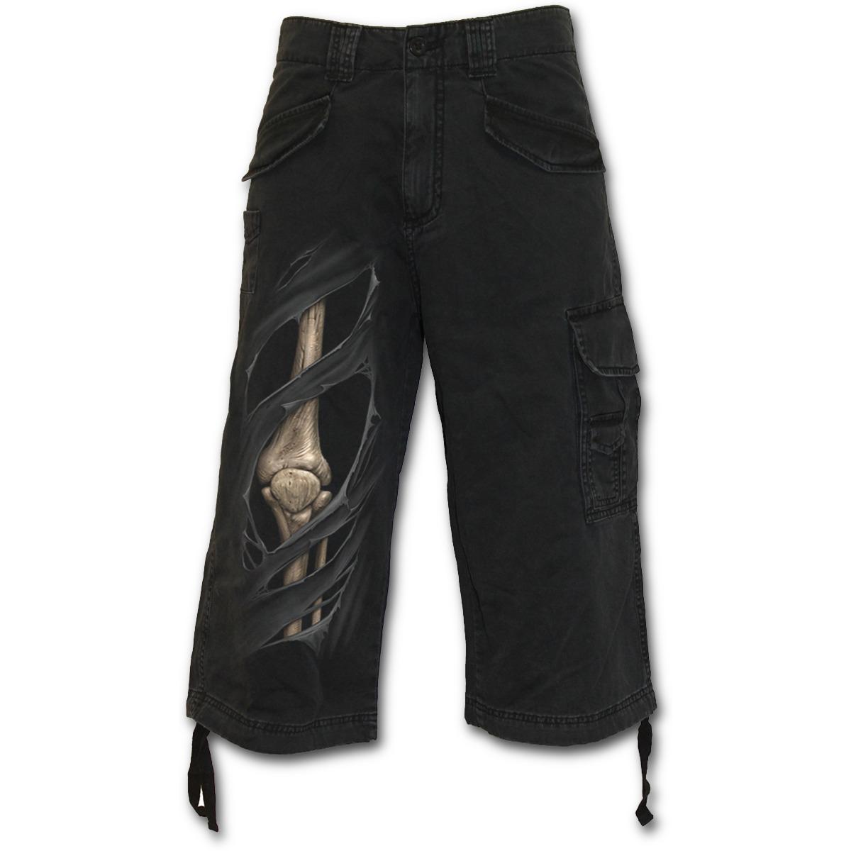 Spiral Direct pánské šortky XXL (BONE RIPS Vintage Cargo Shorts 3/4 Long Black)